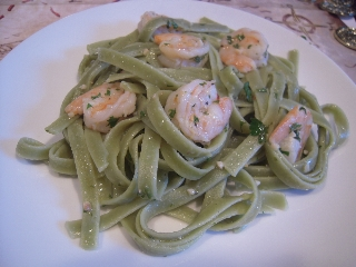 Spinach Linguine with Shrimp